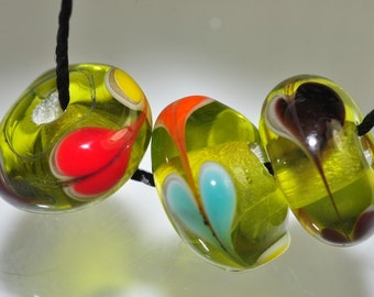 Listed @10% Off Sale Was 8.59---3 Pieces 12x6mm Artsy~ Unique Vintage Fancy LAMPWORK Glass Hand-painted Rondelle Beads - H0848
