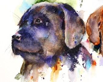 LABRADOR Puppy Watercolor Print by Dean Crouser