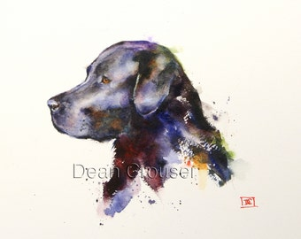 BLACK LABRADOR Watercolor Dog Print, Dog Painting by Dean Crouser