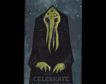 Cthulhu Celebrate Indifference woodcut print