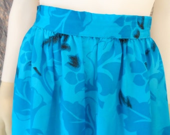 CLEARANCE  Vintage Blue Silky Floral 80's Midi Skirt  S