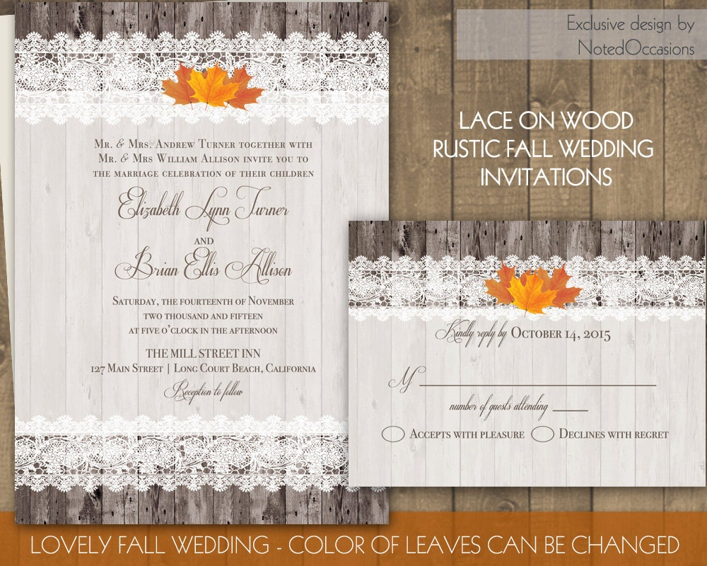 Rustic Fall Wedding Invitations: Wood And Lace Rustic Fall Wedding Invitations By
