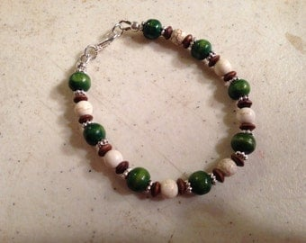 Turquoise Bracelet - White, Green & Brown Jewelry - Wood Jewellery - Silver - Fashion