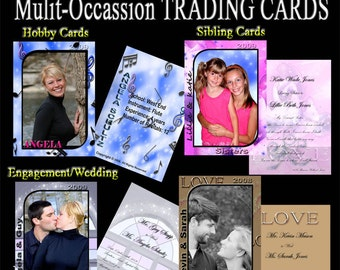 INSTANT DOWNLOAD - 12 SETS of Digital Trading Cards - Photoshop templates - Photographer or Scrapbooker