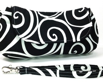 Clutch Purse Wristlet - Black White Ironworks Scrolling Circles Fold Over Clutch