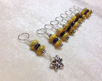 Bumblebee Stitch Marker Set, Snag Free Knitting Stitch Markers, Gift for Knitters, Pattern Markers, Bee