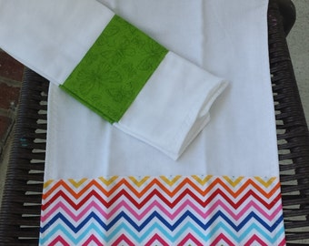 Bright chevron and kelly green butterflies burp cloth set