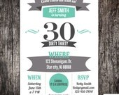 30th, 40th, 50th, 60th surprise Birthday Party Invitation - Any age printed or DIY