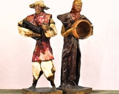 Vintage Mexican Sculptures Paper Dolls Figurines Couple Paper Mache' Man & Women Rustic Village Country