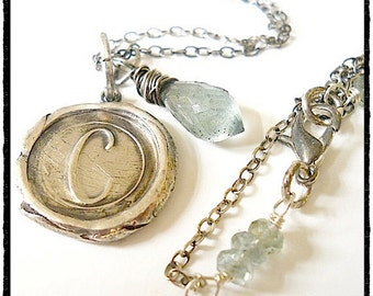 Silver Wax Seal Initial New Mom Necklace with Wire Wrapped Gemstone . Birthstone Included . BEST SELLER