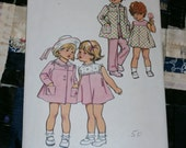 1972 Vintage Simplicity Pattern 5436 Toddler's Pants, Bias Dress and Bias Coat, Size 3, Chest 22""