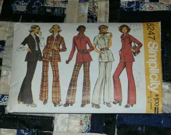Vintage 1972 Simplicity Pattern 5247 for Misses Shirt Jacket and Pants, Size 16, Bust 38, Waist 30""
