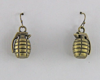 Bronze Color Hand Grenade Earrings