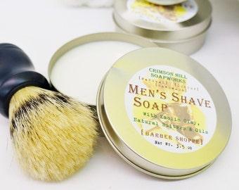 Men's Shave Soap Tin - round soap, kaolin clay, mango butter, shea butter, cocoa butter, handmade, shaving, glycerin, man