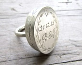 statement ring personalized big ring sterling silver contemporary jewelry engraved ring engraved rings engraving jewelry