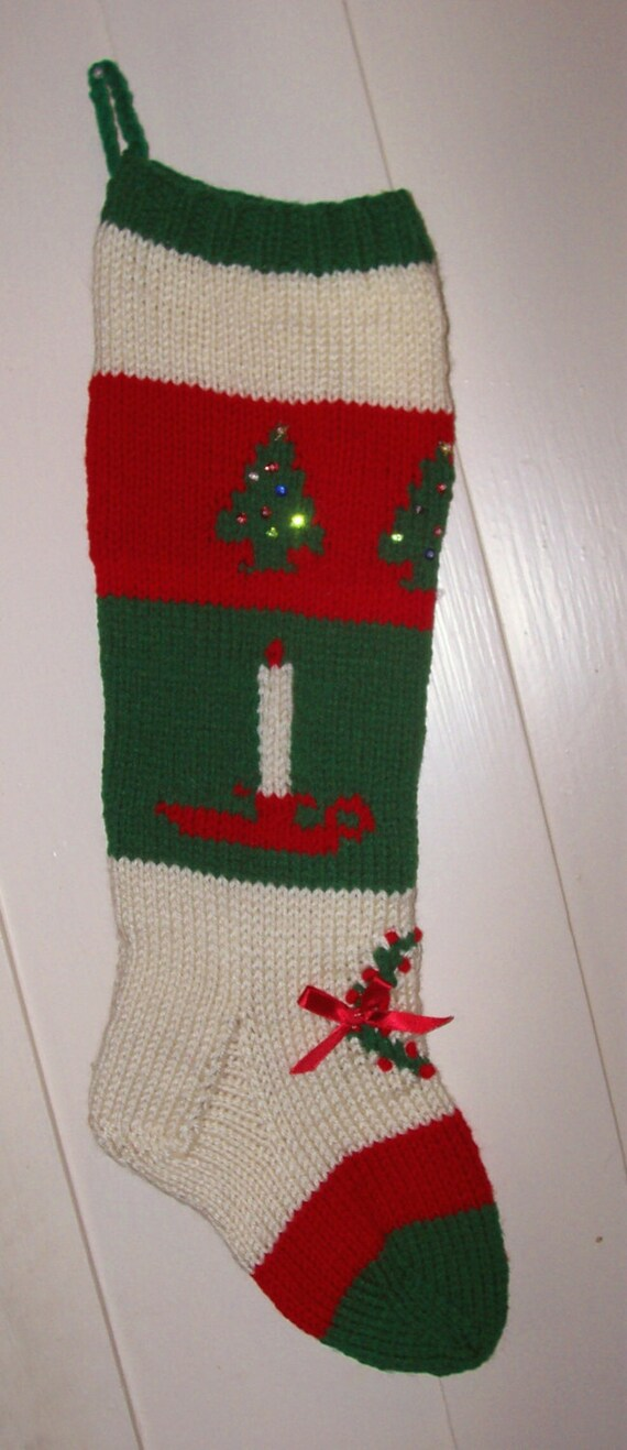 Hand Knit Christmas Stocking Patterns : Hand Knit Christmas Stocking Old Pattern Candle Trees Wreath