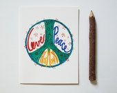 Love Peace Harmony card hippie boho notecard