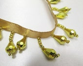 Short Beaded Fringe Trim in Metallic Gold for Holiday or Christmas Decorator Trim in Alternating Style