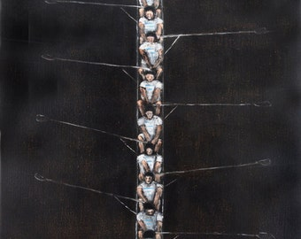 "Art print giclee large art print  ""Night Crew"" 13"" x 19"" art print. rowing crew. dark brown."