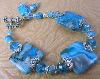 Crazy Blue Agate and Czech Glass rondelle silver and ocean blue turquoise bracelet