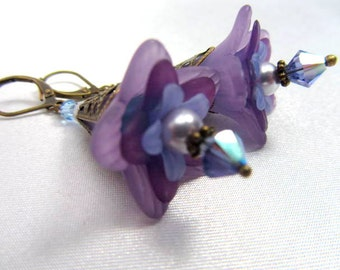 Lily Flower Earrings in Violet Purple with Swarovski Crystals and glass teardrops on Brass