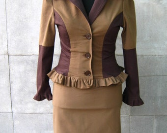 Sport stylish suit jacket in brown and beige