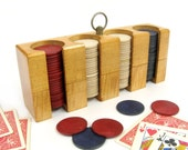 Vintage Poker Chip Rack / Pla Wood Cleveland Ohio / Dad Gift / Gift for Him / Poker Player Gift / Card Player / Guy Gift