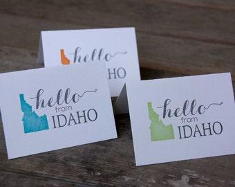 Hello from Idaho, letterpress printed eco friendly