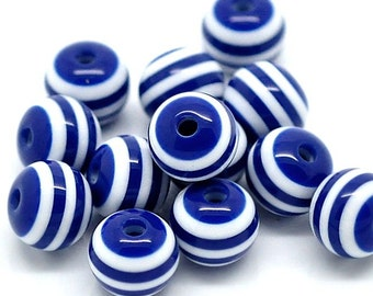 50 Striped 8mm Beads Fun and Colorful Resin - BD336