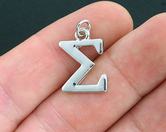 4 Sigma Greek Letter Charms Antique Silver Tone - SC4038