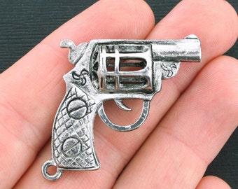 Large Gun Charms Antique Silver Tone 3D - SC4229