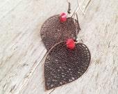 Filigree copper leaves earrings garnet drops dangle earrings. January birthstone Nature inspired jewelry.