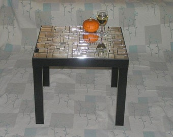 Coffee Table Mirrored Side Table Glass Mosaic, Livingroom Furniture, Small black table, Glass Table, Modern Coffee Table