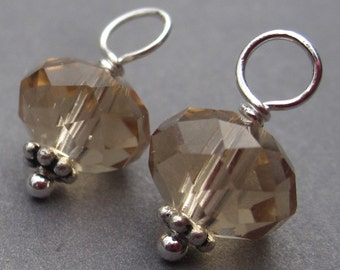 Champagne Topaz Crystal Charms, Crystal Dangles, Wine Charms, Interchangeable Earrings Pendants,  Bead Dangles Charms , 9mm Crystals