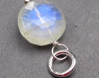 Rainbow Moonstone Coin Disc Sterling Silver Wire Wrapped Dangle Pendant with Sterling Silver Jump Ring Stone 211