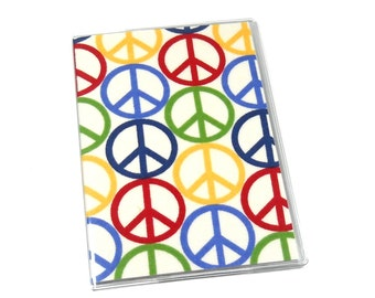SALE Passport Cover Colorful Peace Signs