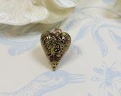 Murano Amethyst Gold Heart Pendant, Murano Venetian Glass Crackle 24kt Goldfoil Amethyst Heart Pendant with Swarovski Elements & Sterling