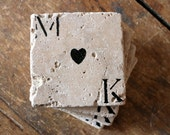 Personalized Coaster Set of 4 Couple Natural Marble Coasters Engagement Wedding Rustic Home Decor Love Heart Anniversary Valentines Day