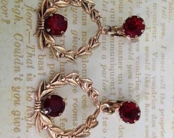 1950s Red Glass Pierced Earrings