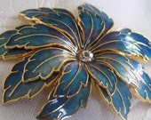 Vintage brooch, turquoise blue to lavender and gold edge flower brooch, sparkling crystal brooch, 1940s brooch