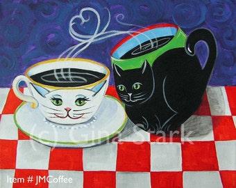 White Cat Tea cup and Black Cat Mug Whimsical Folk art Magnet