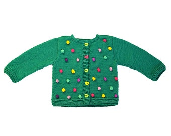 Girls sweater / jacket knitted cardigan green wool winter warm knitting Pink Purple Yellow Mint Bobbles, Baby and toddler, Made to order