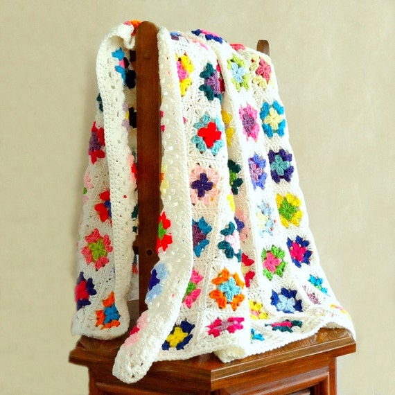 Granny Square Afghan Crochet Multi Color Blanket White Trim Throw Bedding
