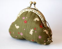Sakura & Rabbit Coin Purse Olive Green