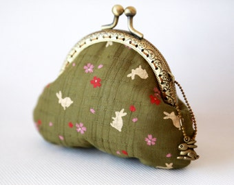 Sakura & Rabbit Coin Purse Olive Green
