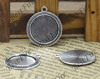 10 pcs of  Antique Silver Round Cabochon Pendant Base (Cabochon size 20mm),Pendant findings,lacework findings