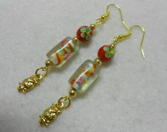 Holiday Owl Earrings, OOAK Red Earrings, Handmade Christmas Earrings, Lampwork Owl Earrings