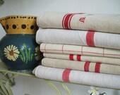 ANTIQUE FRENCH LINEN linen  kitchen cloths red stripe  ..linen tea towel linen  napkins