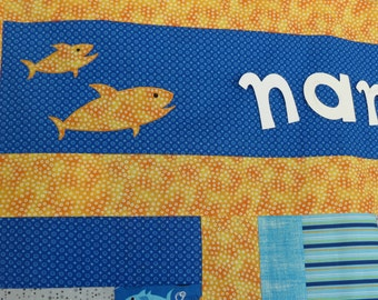 Ready to Personalize Custom Quilt Shark Theme Appliqued Sharks Appliqued Name in Orange, Royal Blue, Grey, Black