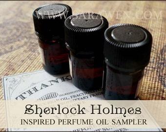 SHERLOCK HOLMES inspired Perfume Sampler / 2ml Perfume / Sherlock Perfume Cologne / vegan perfume oil